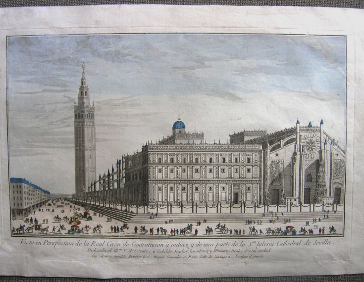 Perspective view of the Royal House of Contratacion of indies, and a part of the Cathedral of Seville