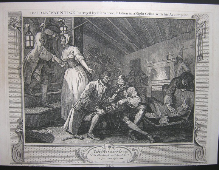 The idle prentice betray'd by his Whore, taken in a Night Cellar with his Accomplice