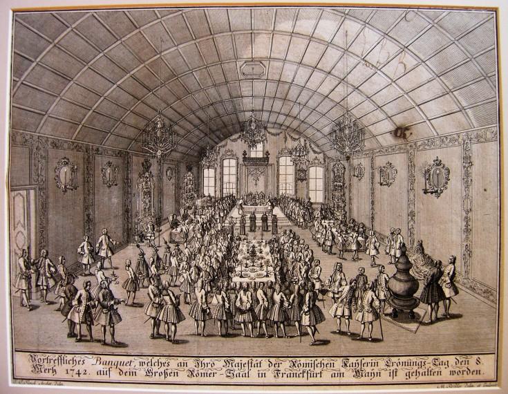 Excelente banquete en el que vino la Emperatriz romana y se llevó a cabo la coronación de su Majestad el día 8 de marzo de 1742 en la gran sala romana de Frankfurt en Main