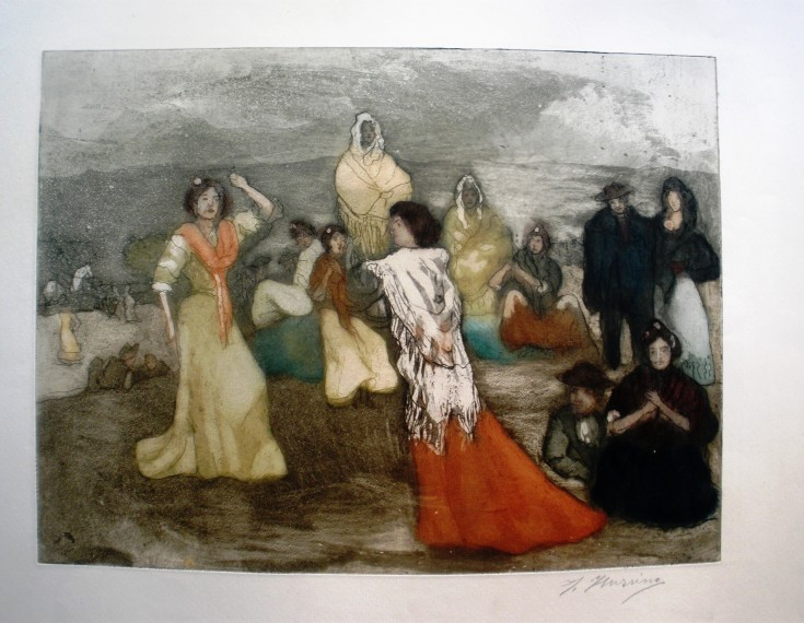 Baile flamenco (Iturrino, Francisco) - Last decade 19th century - [Play time and Fiesta, Spain, XIX, Etching, aquatint coloured, Watermark laid paper]