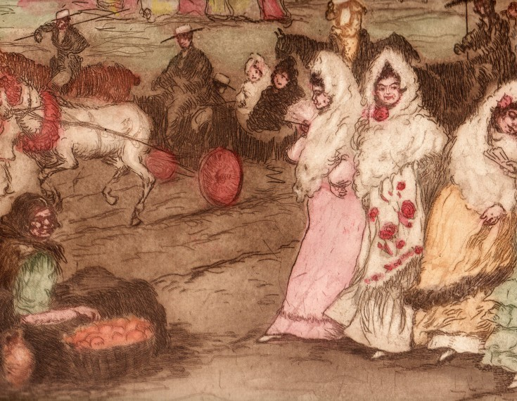 Se rendant à la fête o Promenade après la course (Canals, Ricard - Sagot) - Circa 1900 - [Play time and Fiesta, France, XX, Etching, aquatint coloured, Laid paper]