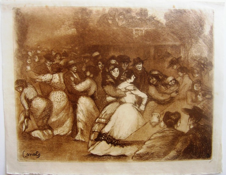 Sin título. Fiesta popular (Canals, Ricard - Sagot) - Circa 1900 - [Play time and Fiesta, France, XX, Etching, aquatint coloured, Old Indian paper]