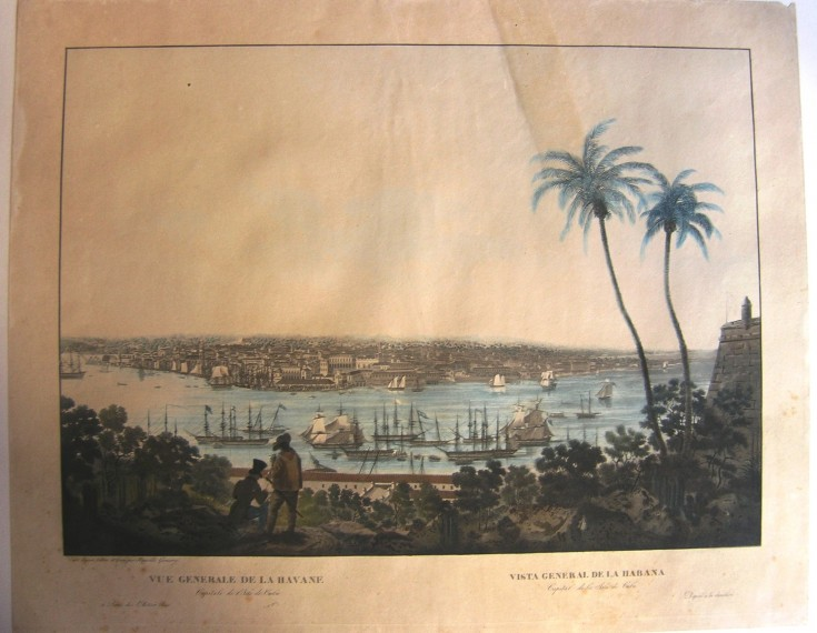 Vista general de la Habana (Garneray, Hippolyte) - Circa 1830 - [Vistas y paisajes, Francia, XIX, Aguatinta iluminada, Papel vitela]