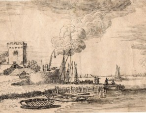 Landscape of a boat with figures