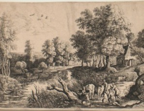 Landscape with figures and cows