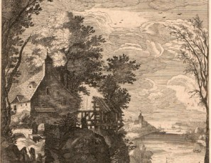 Landscape with houses and a river