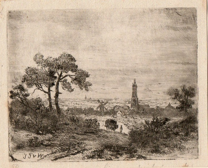Landscape with mill and a church