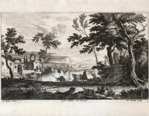 Rural landscape with ships and shepards