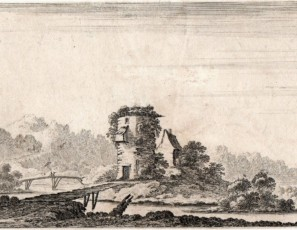 Mill with a bridge and a figure with a dog
