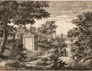 Landscape of figures, path and village