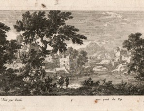 Landscape of a village, church and figures
