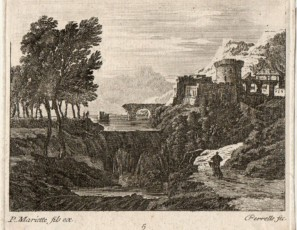 Landscape with waterfall and figure