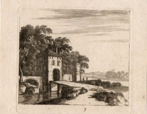 Landscape with bridge and house