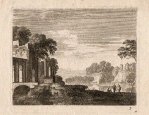 Landscape with ruins, figures and a village