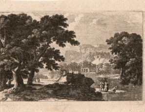 Landscape with trees, figures and village
