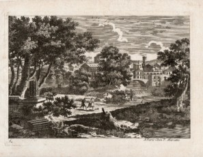 Landscape with figures leading a town