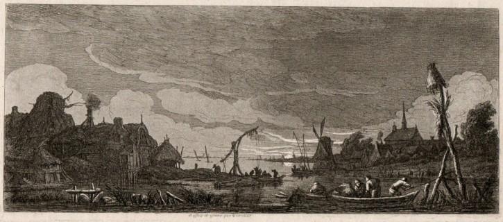 Paisaje nocturno con pescadores