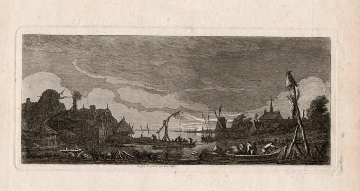 Paisaje nocturno con pescadores. Weirotter, Franz Edmund. Mediados siglo XVIII. Precio: 250€