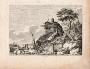 Landscape with figures and cabin near the river