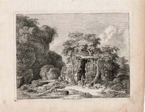 Landscape of a cabin with figures