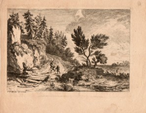Figures crossing a river with a landscape