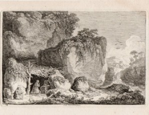 Hermits in a forest. Perhaps Saint Anthony and Saint Paul anchorite