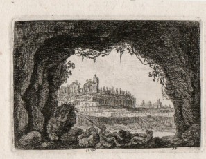 Landscape with ruins from a cave