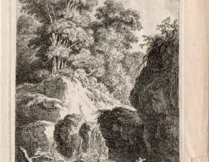 Waterfall with figures