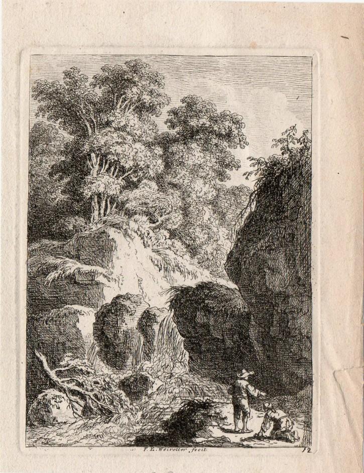 Cascada de agua con dos figuras. Weirotter, Franz Edmund. Mediados siglo XVIII. Precio: 250€