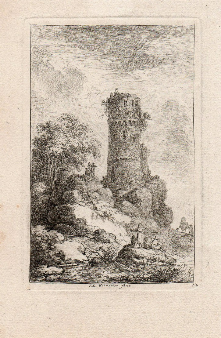 Figuras con gran torre. Weirotter, Franz Edmund. Mediados siglo XVIII. Precio: 250€