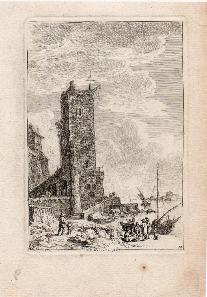 Figuras cerca de gran torre. Weirotter, Franz Edmund. Mediados siglo XVIII. Precio: 250€