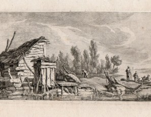 Landscape with house, boats and figures