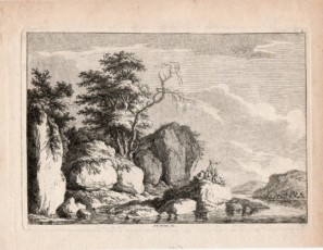 Landscape with figures and rocks
