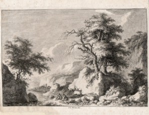 Figures seating in a forest