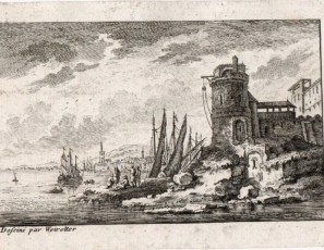 Fluvial landscape with figures and town