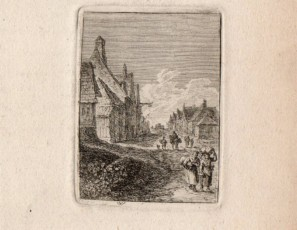 Street of a vilage with figures