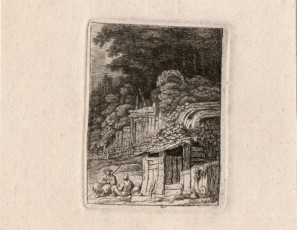 Pair of figures in front a cabin