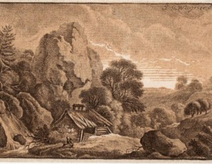 Landscape of an hermitage in a forest