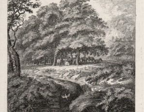 Landscape with figure reading near a river