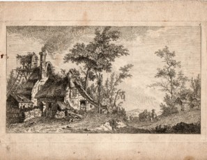 Landscape with farm and figures