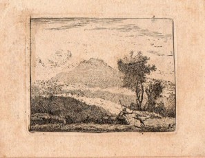 Landscape of a figure and a dog