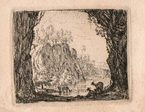 Landscape of a cave with animals