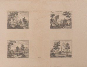 Four landscapes with landscapes and monuments