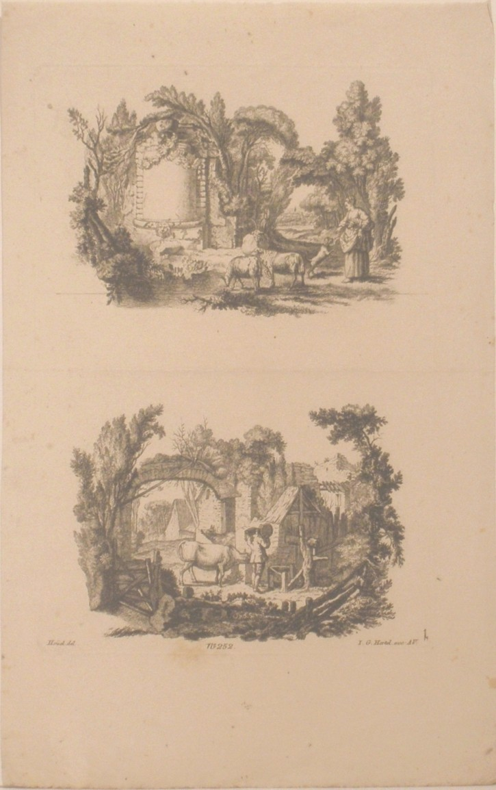 Pair of landscapes with church and mill