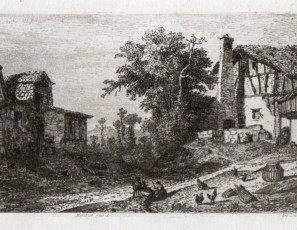 Landscape of a village with people