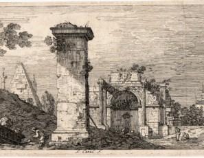 Capricho con pilastras en ruinas