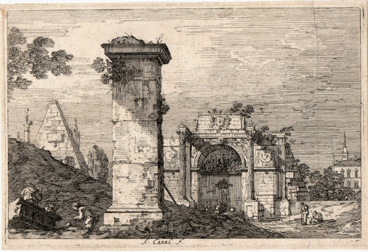 Capricci with pillaster on ruins
