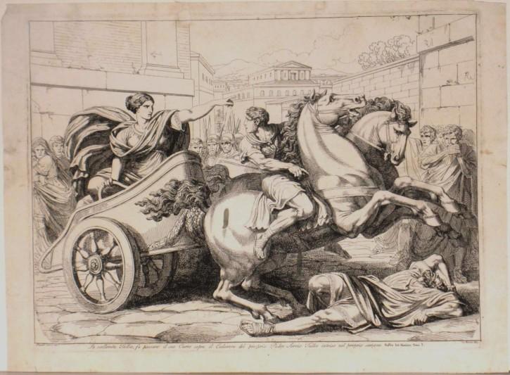 Túlia pasa sobre el cadáver de Servio Tulio (Pinelli, Bartolomeo) - 1817 - [Historia Antigua, Italia, XIX, Aguafuerte y buril, Papel verjurado]