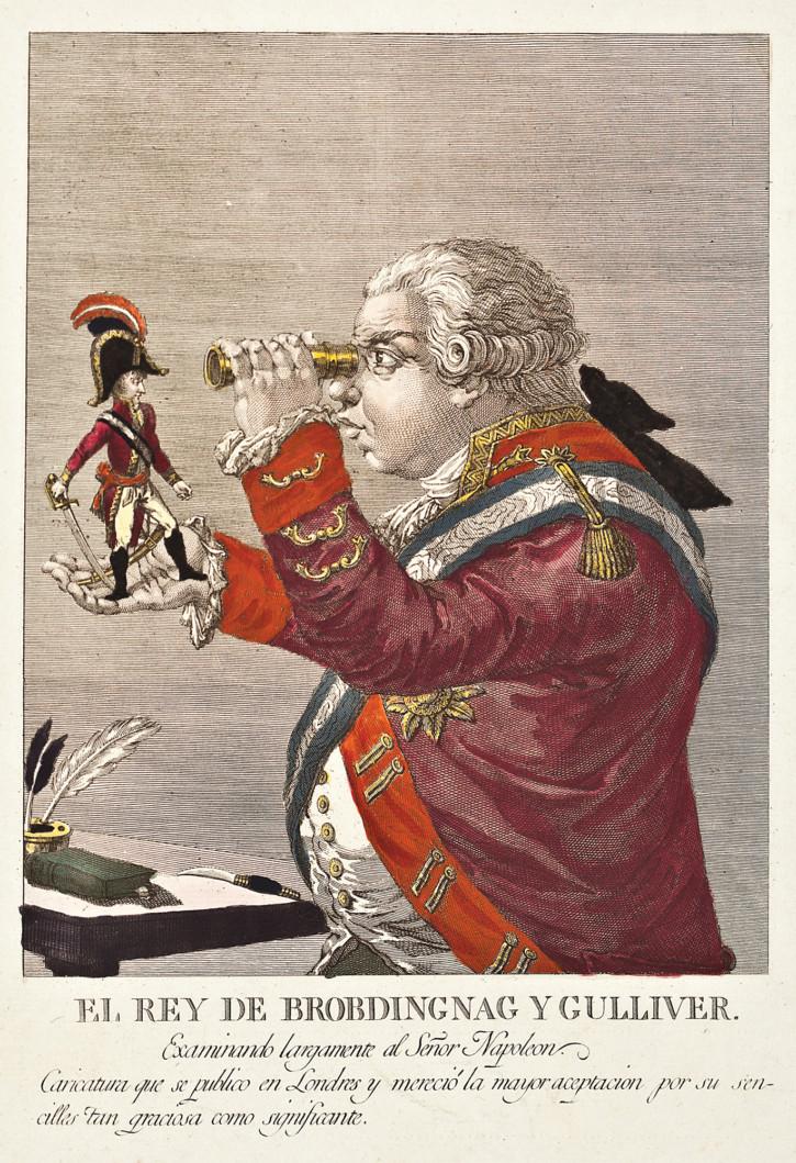 El Rey de Brobdingnag y Gulliver examinando largamente al Señor Napoleon