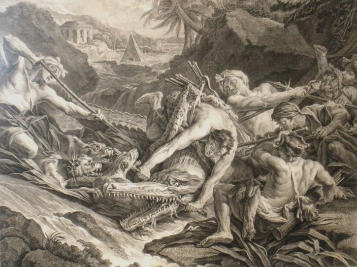 Crocodiles hunting (Moles, Pasqual Pere - Bouchardon) - 1774 - [Animals, Catalonia, XVIII, Etching and burin, Laid paper]